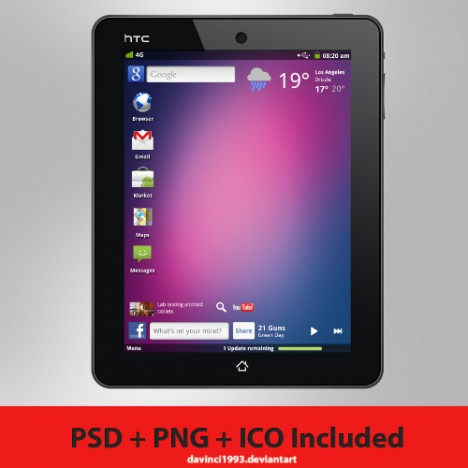 Plantilla Tablet PSD Aurora de HTC