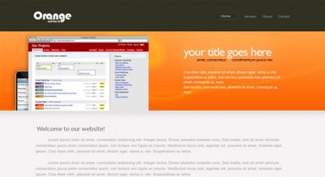 Plantilla naranja para sitio web en Photoshop PSD