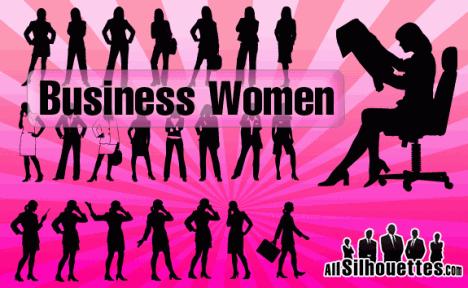 Plantilla de silueta de mujeres ejecutivas y negocios