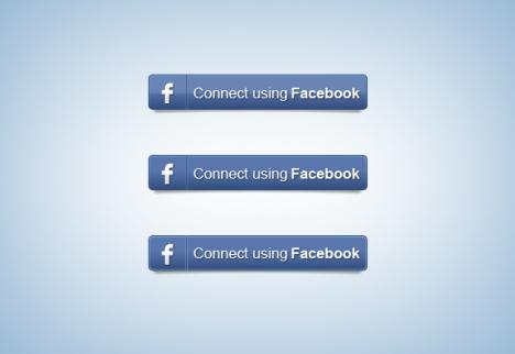 Plantilla de botón Facebook Connect o conectar usando Facebook PSD