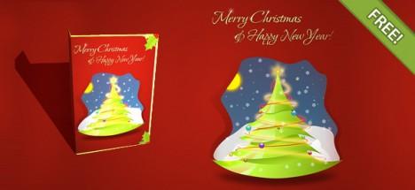 Plantilla Psd Con Diseños De Tarjetas De Navidad Para