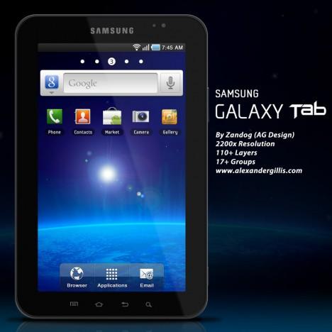 Plantilla de Tablet PSD con Galaxy Tab