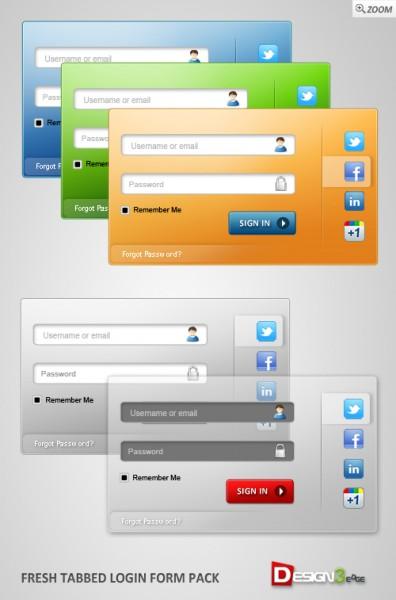 Plantilla de Login moderno PSD con tabs y varios colores