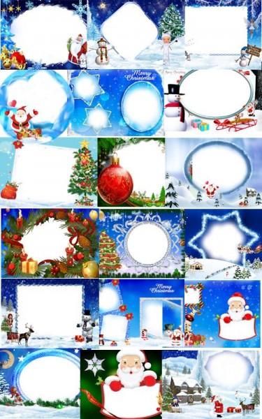 Plantilla con marco para Navidad en PSD