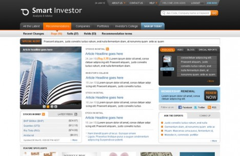 Plantilla Smart Investor para web de Negocios en Photoshop