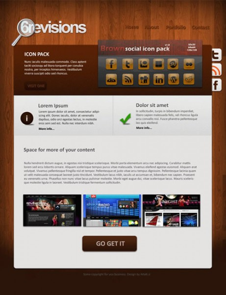 Plantilla profesional de sitio web con color madera