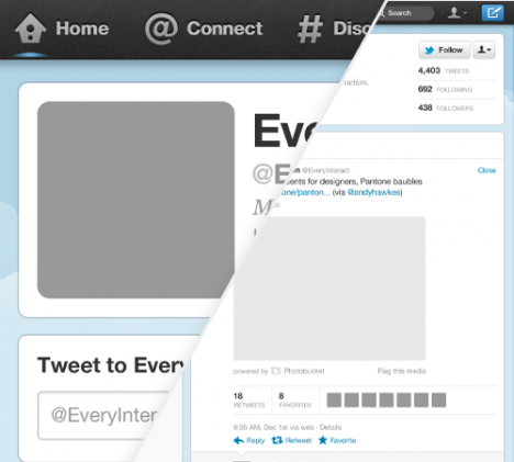 Plantilla de Twitter GUI para Photoshop PSD