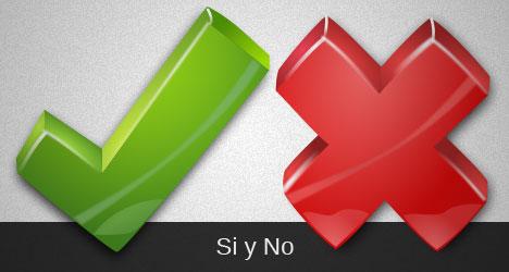 si y no, cruz roja y verde