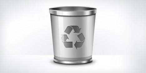 Plantilla con recipiente de basura PSD