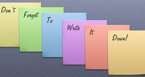 Plantilla de notas y sticky notes con colores PSD