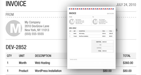 invoice psd template