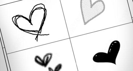 corazones en blanco y negro