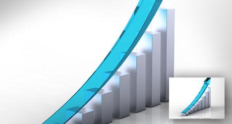 Plantilla de gráfica de negocios glossy con pendiente positiva