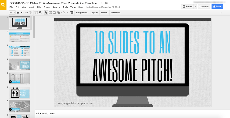 Free Google Slides Template Pitch Deck FGST